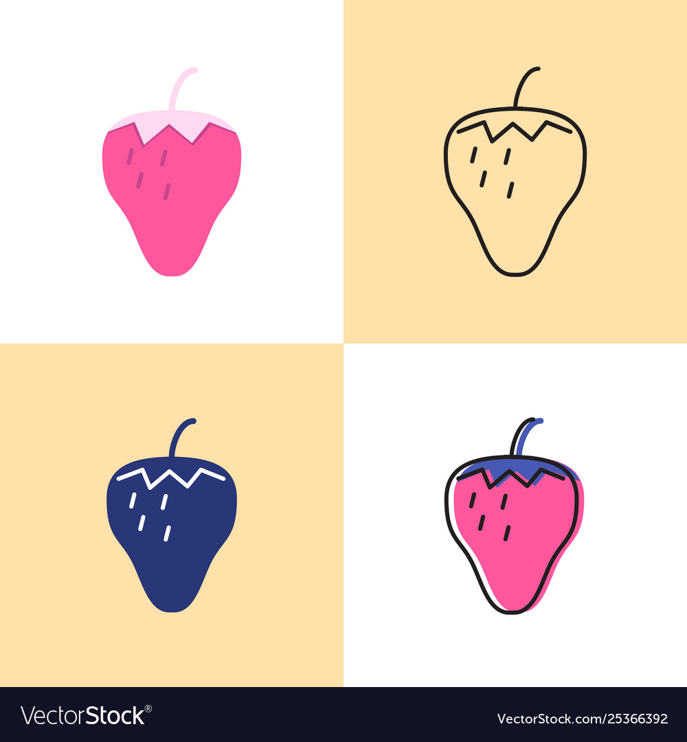 Strawberry icon set in flat and line styles