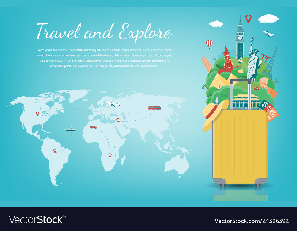 Travel composition with famous world landmarks