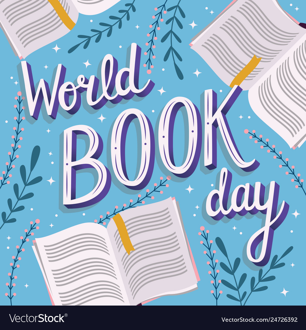 World book day hand lettering typography modern