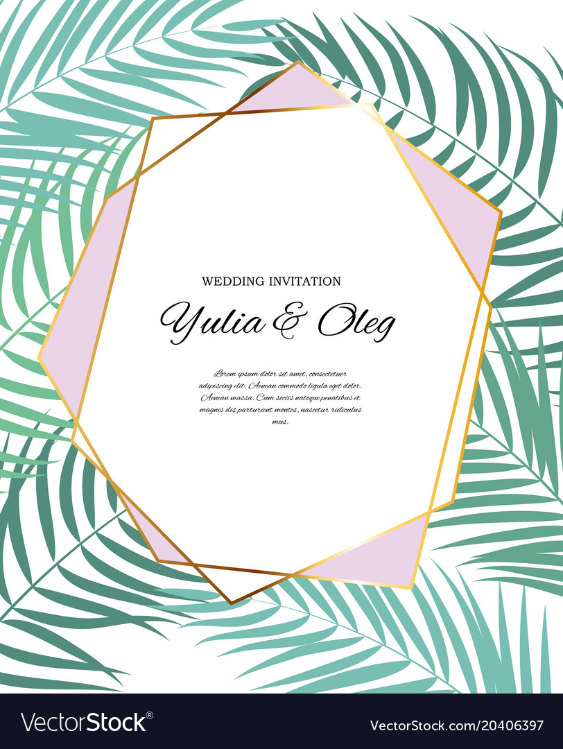 Beautifil wedding invitation with palm tree leaf