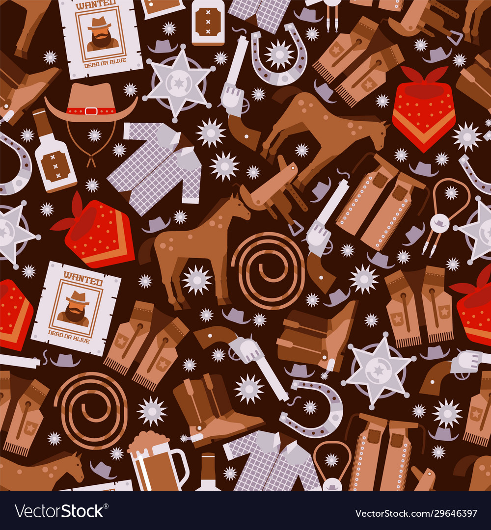 Cowboy seamless pattern wild west icons wrapping