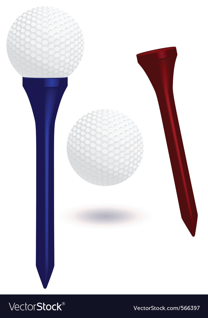 Golf ball and tee vector image