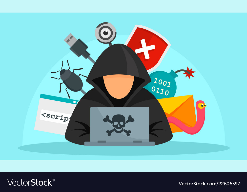 Hacker activity concept background flat style