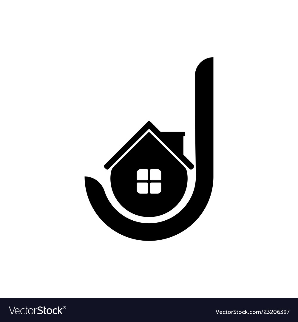house letter j logo template design and support vector image