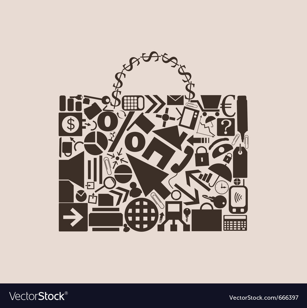 Portfolio of business icons vector image