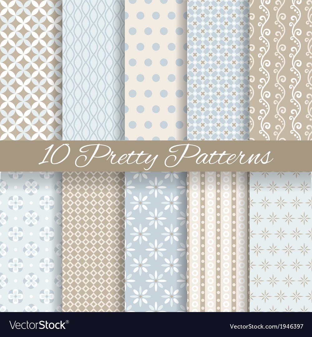 Pretty pastel seamless patterns tiling with swatch vector image
