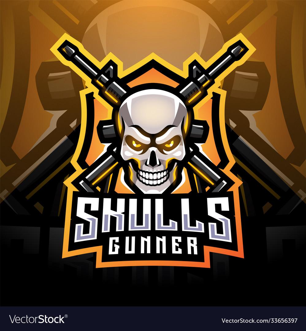 Skull gunners esport mascot logo design