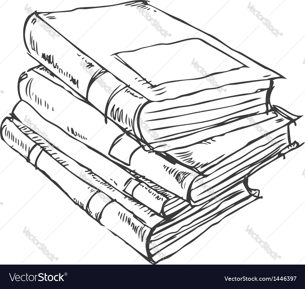 Stack of books doodle vector image
