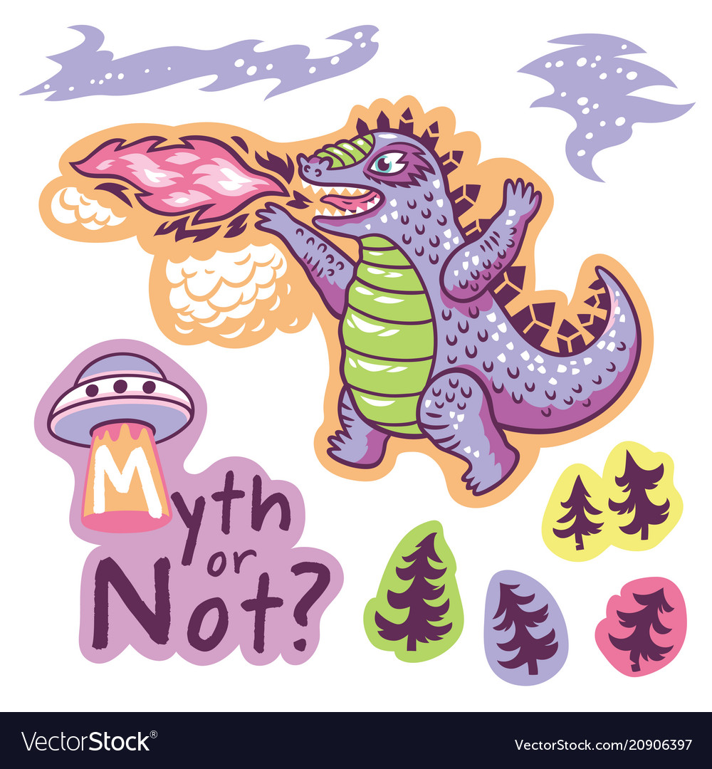 Stickers with fantastic animals and phrases in