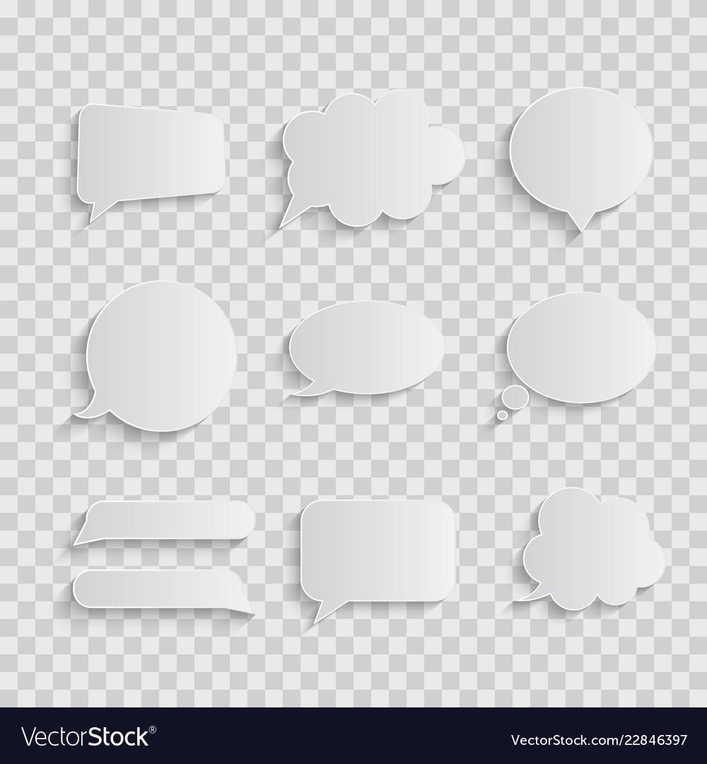 White blank retro speech bubbles set on