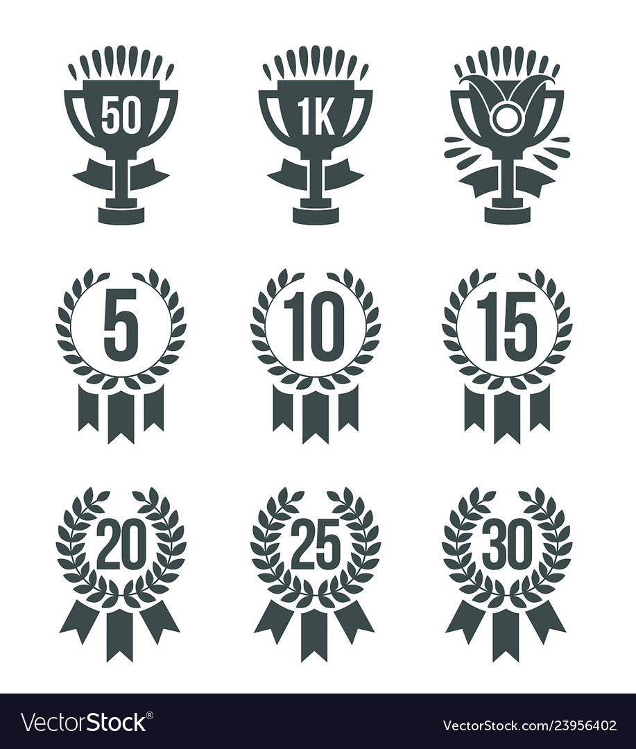 Achievement winner icons set of 30 outline winner