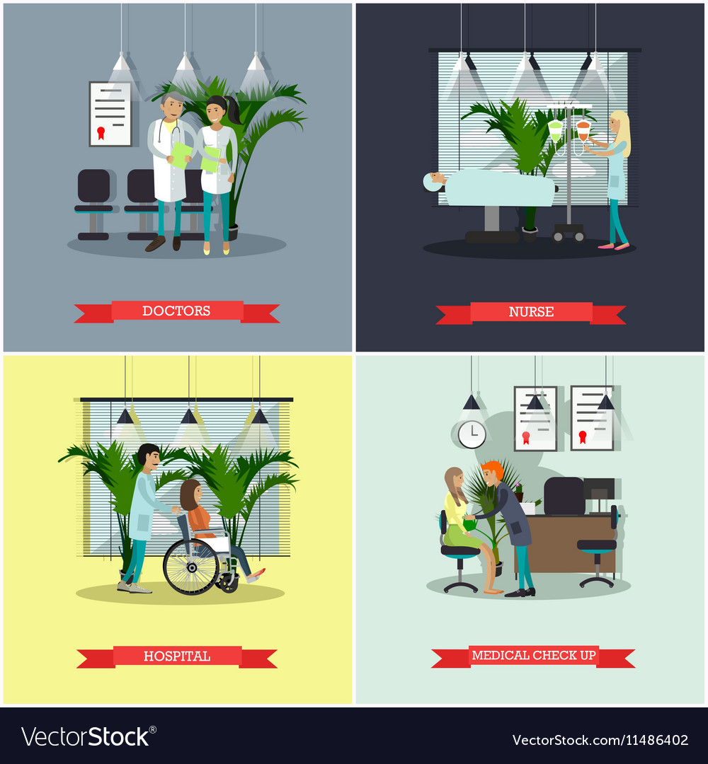 Banners set with patients doctors and vector image