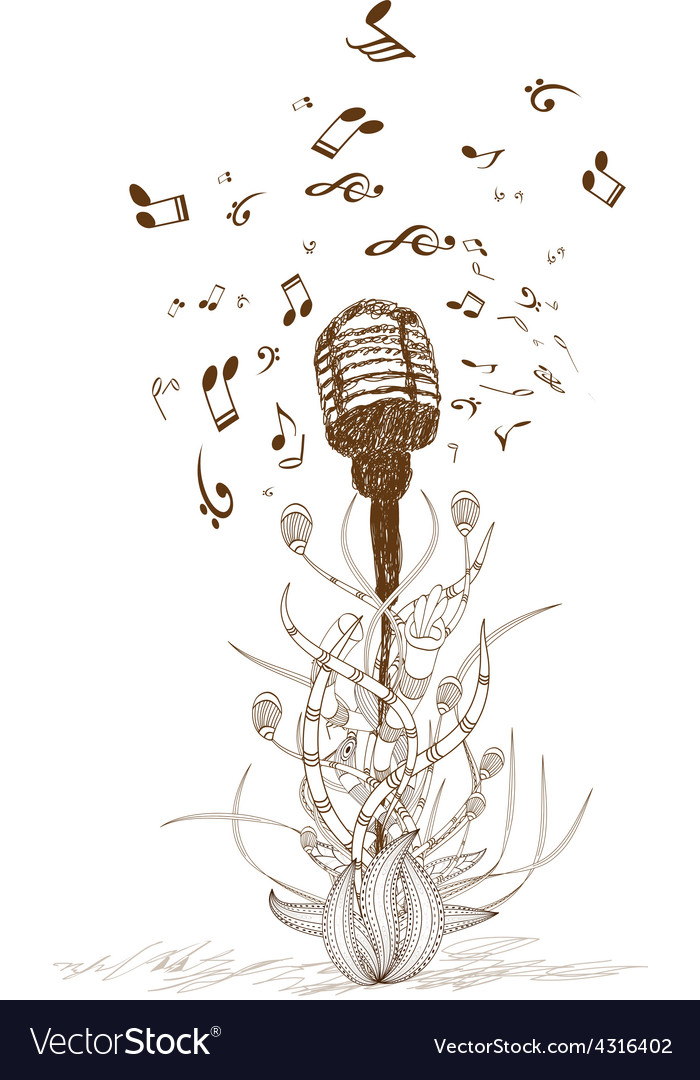 Beautiful doodle art microphone vector image
