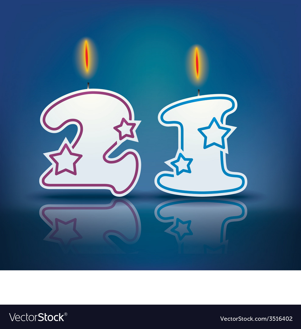 Birthday Candle Number 21 Vector Image