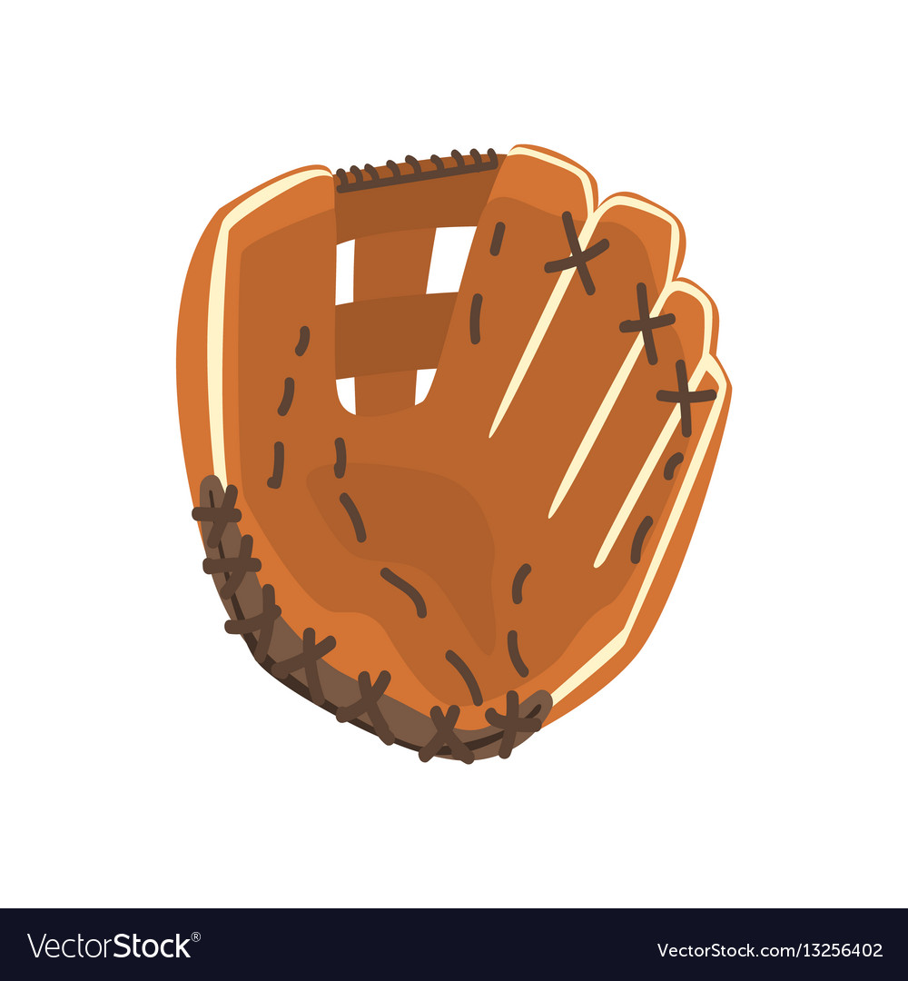 Catcher leather glove part of baseball player vector image