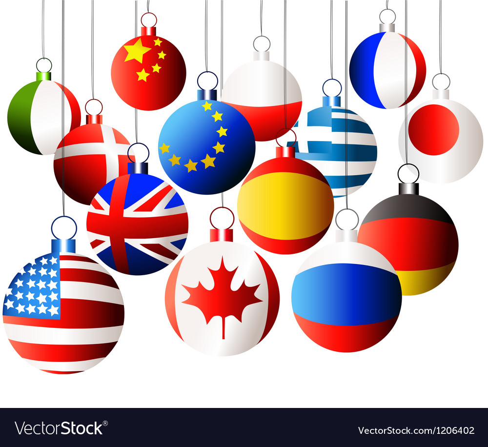 Christmas international balls vector image