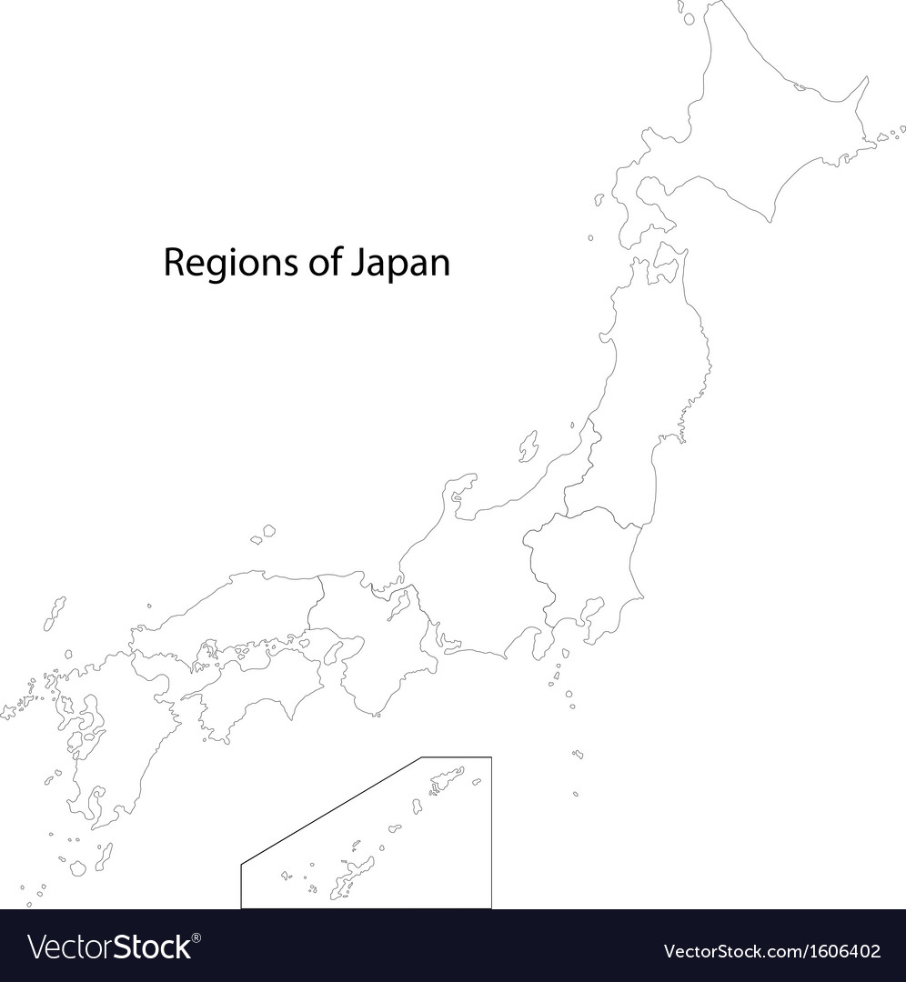 Contour Japan map vector image