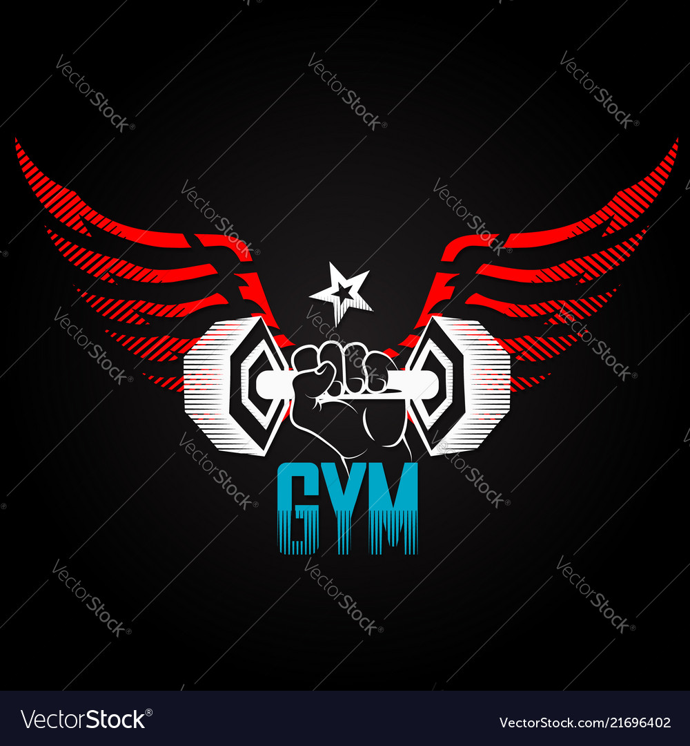 Dumbbell in hand with wings