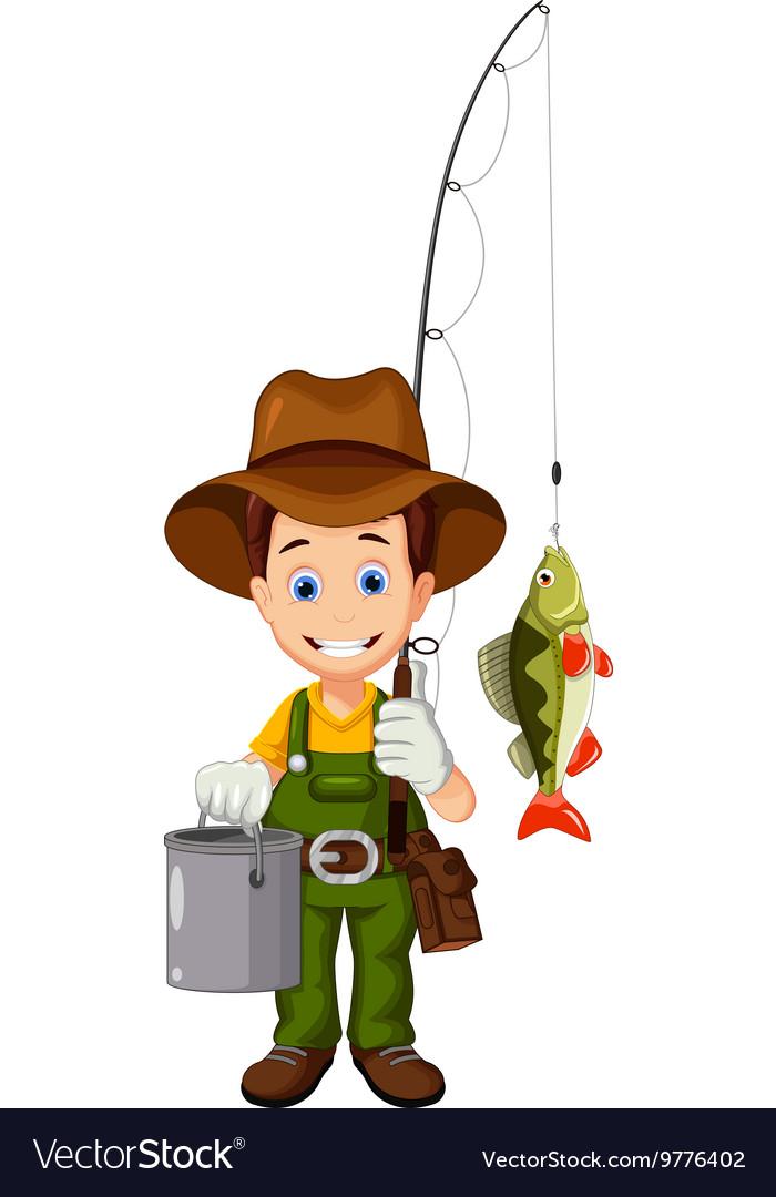 Funny Cartoon Fisherman And Fish