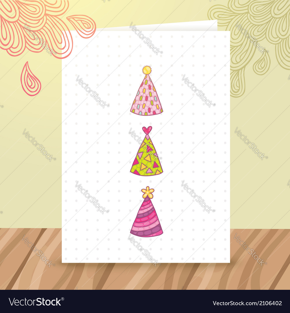 happy birthday postcard template with funny hats vector image