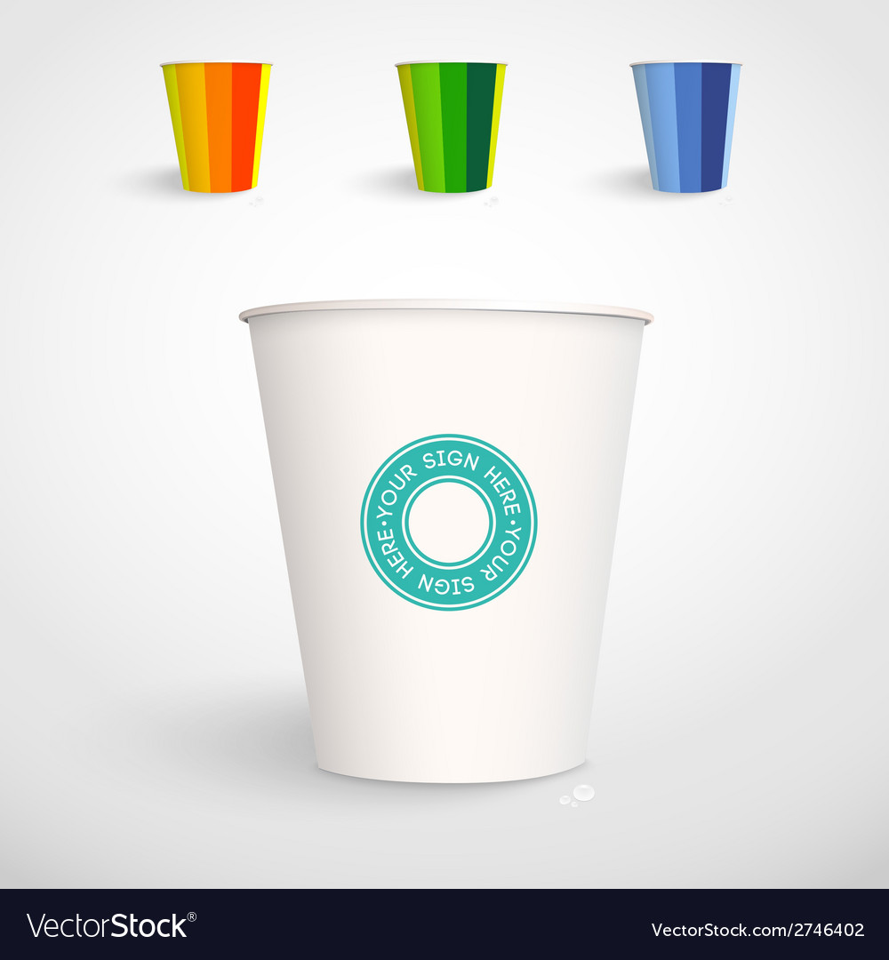 realistic paper cup template royalty free vector image