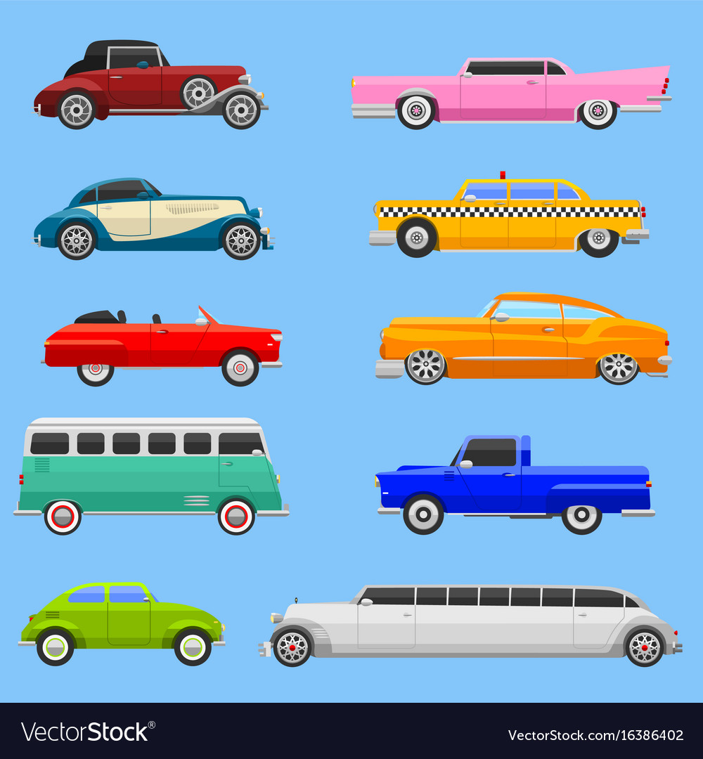 Retro car vehicle transport collection retro old