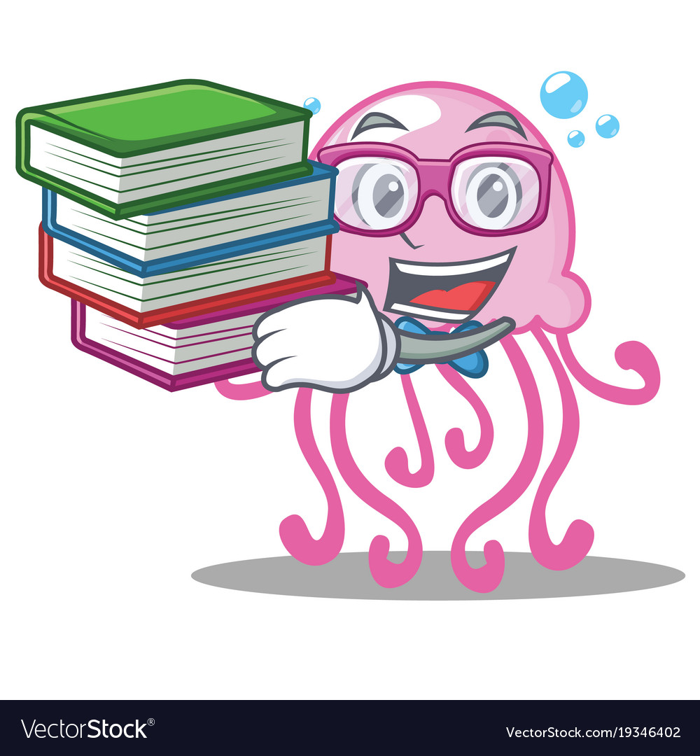 Student with book cute jellyfish character cartoon vector image
