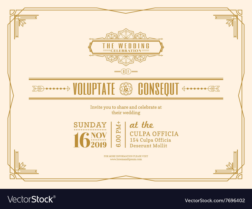 Vintage Wedding Invitation Card Frame Design