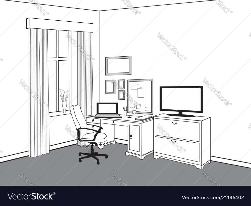 Workspace view at home office workplace with