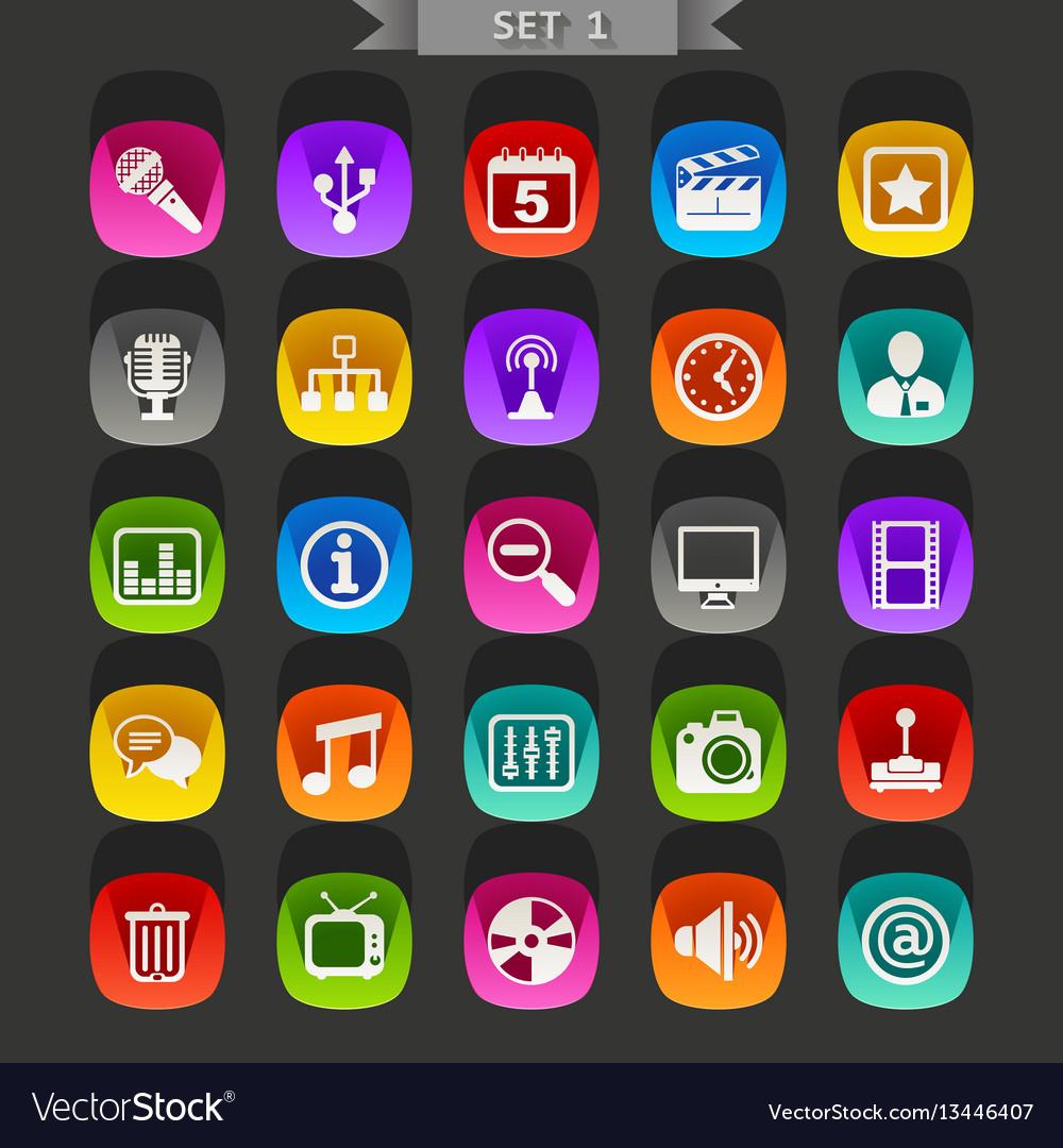 Flat icons-set 1 vector image