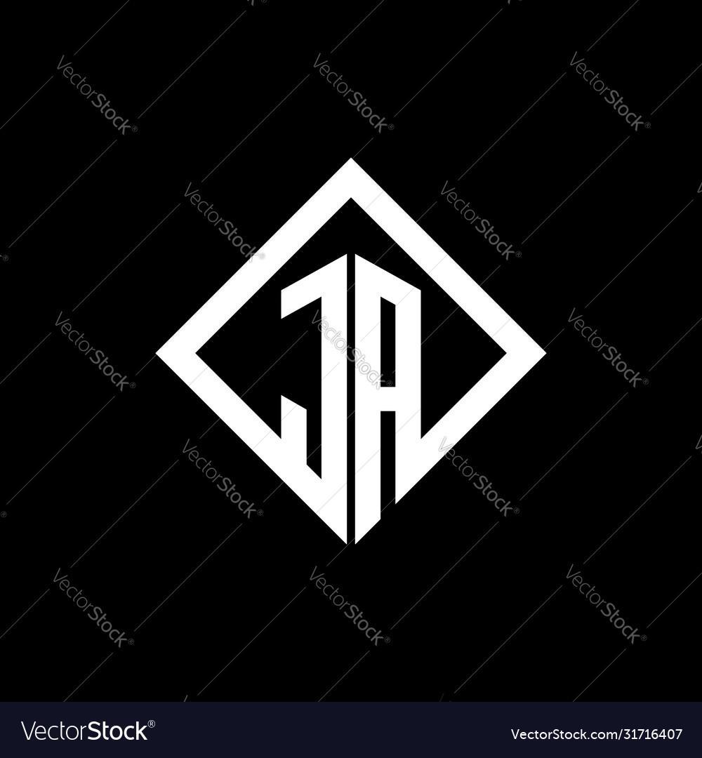 Ja logo monogram with square rotate style design