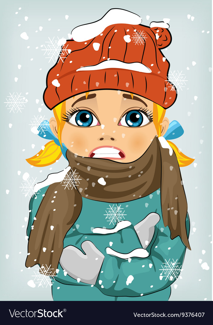 Little Girl Freezing In Winter Cold Royalty Free Vector