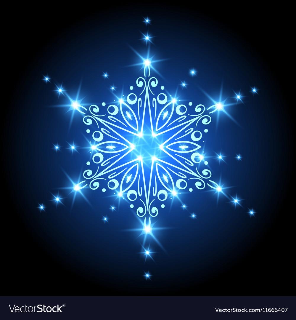 Magic Christmas Snowflake with glowing stars Xmas