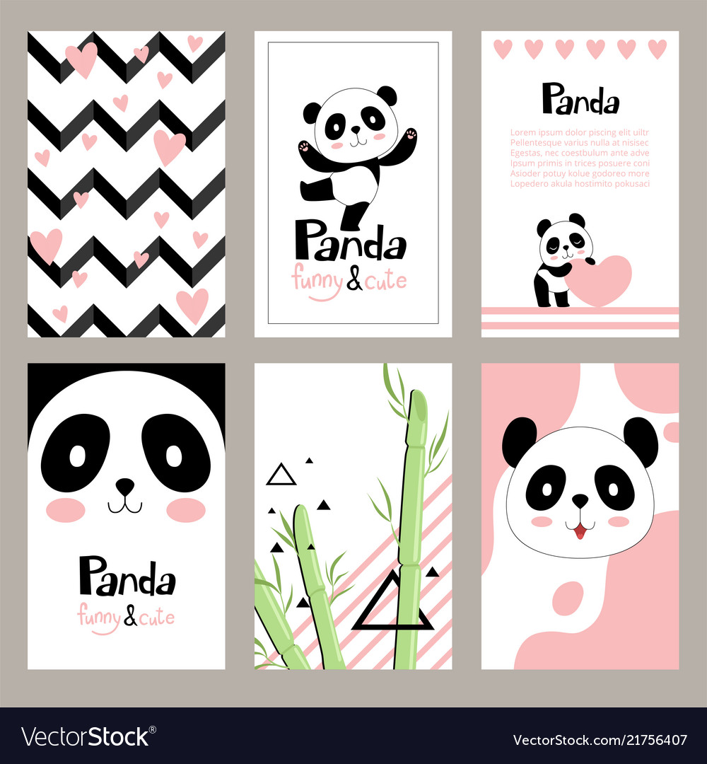 Pandas invitation cards newborn cute animals of