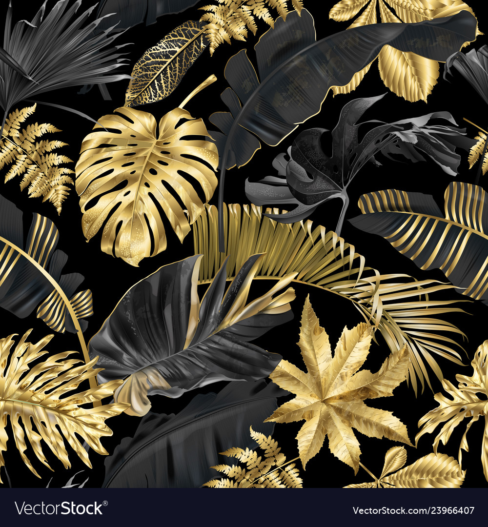 Pattern with gold black tropical leaves