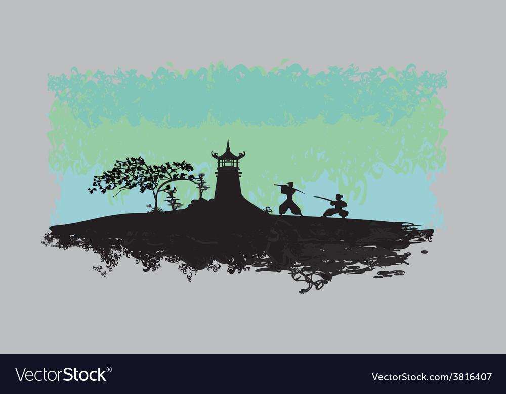 Samurai Silhouette In Asian Landscape Royalty Free Vector
