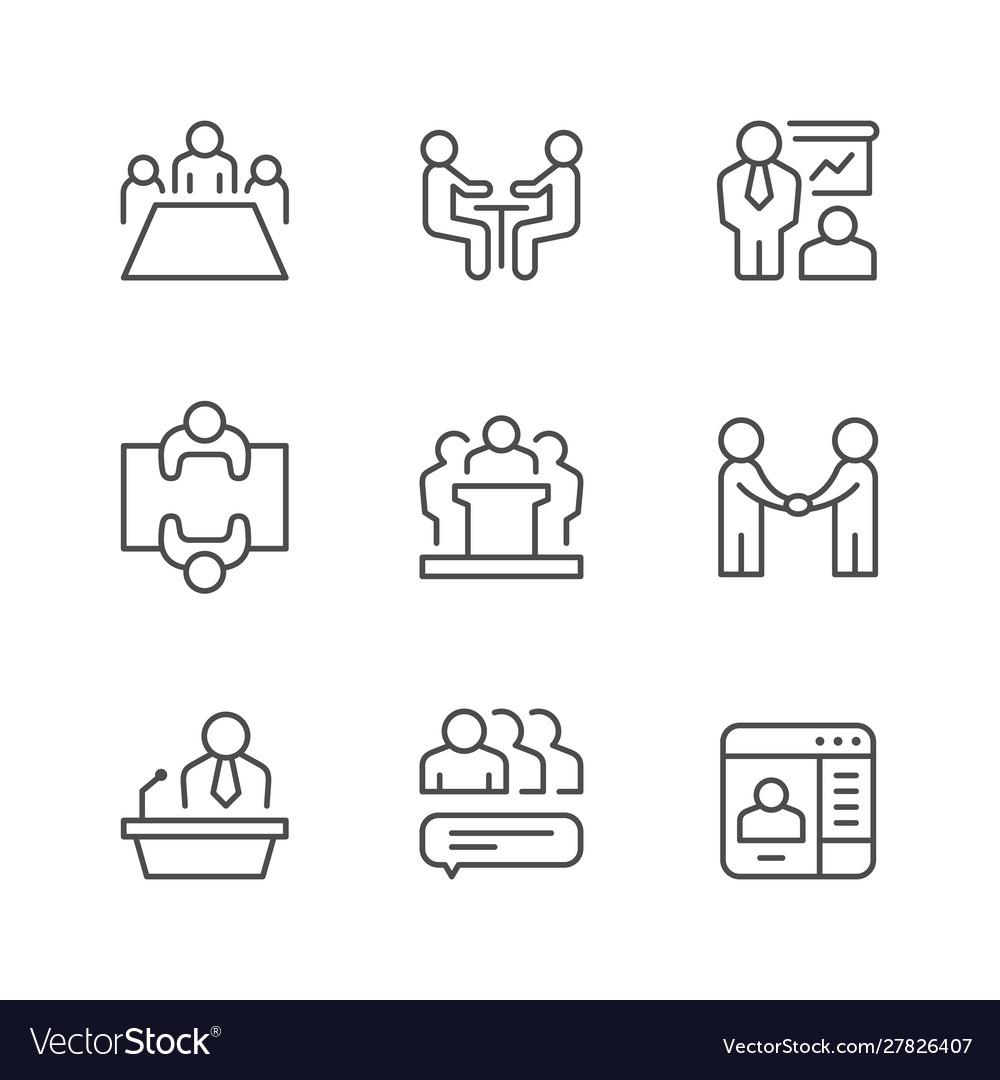 Set line icons meeting