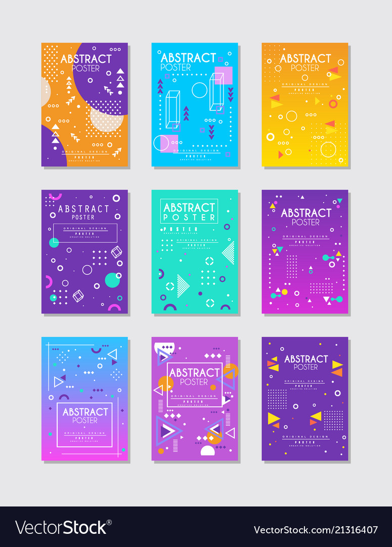 Set of 9 abstract posters with geometric
