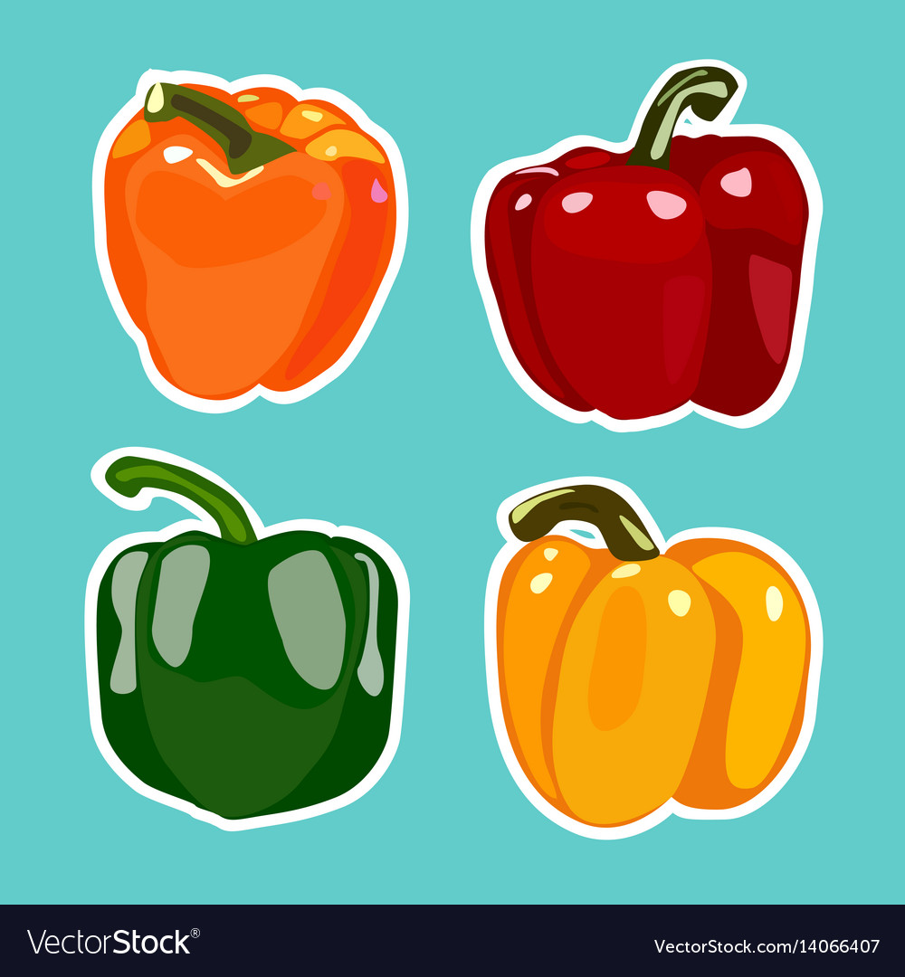 Set of flat cartoon peppers stickers