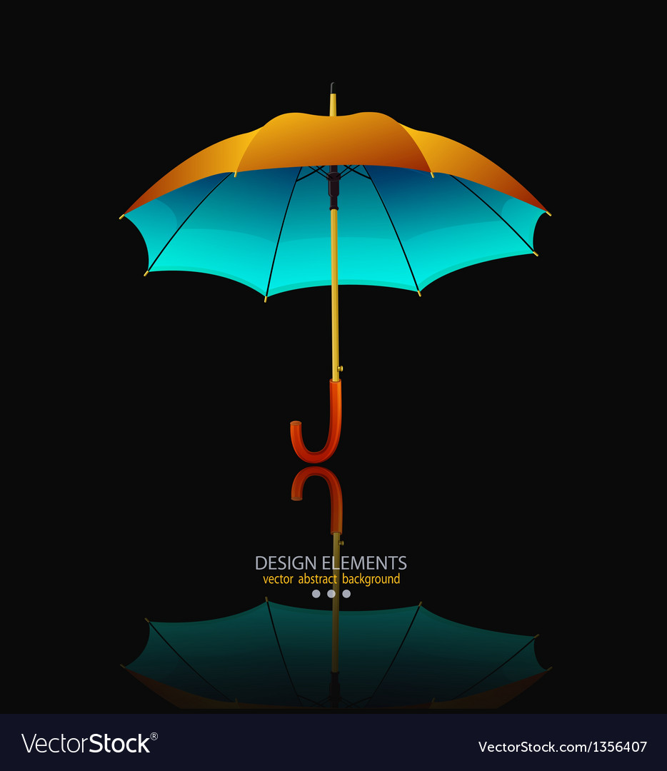 Umbrella with reflection on black background vector image