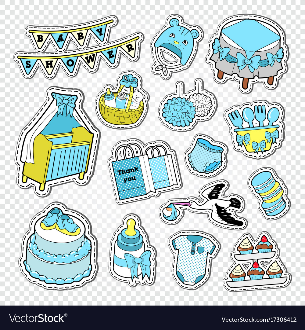 Baby shower boy decoration elements