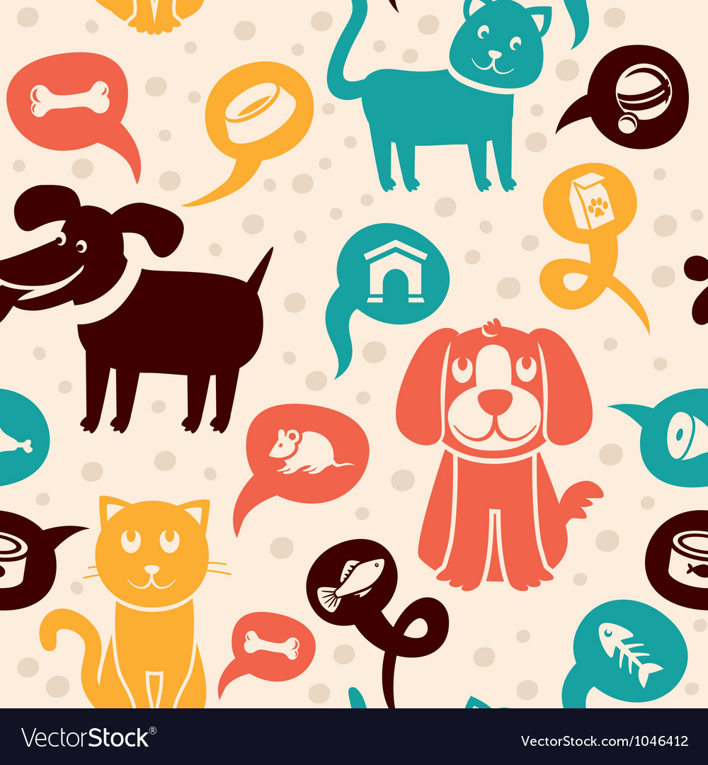 Cartoon seamless pattern with funny cats and dogs