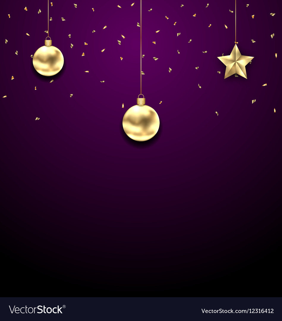 Christmas Golden Balls Copy Space for Your Text