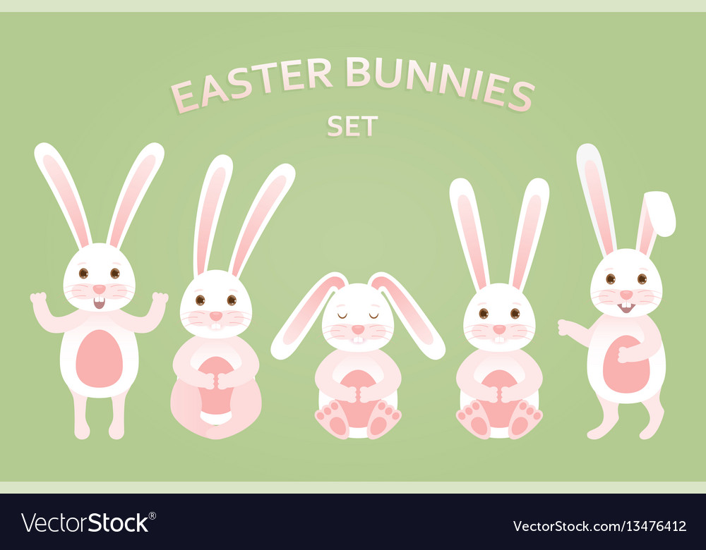 Cute easter bunnies set in different poses