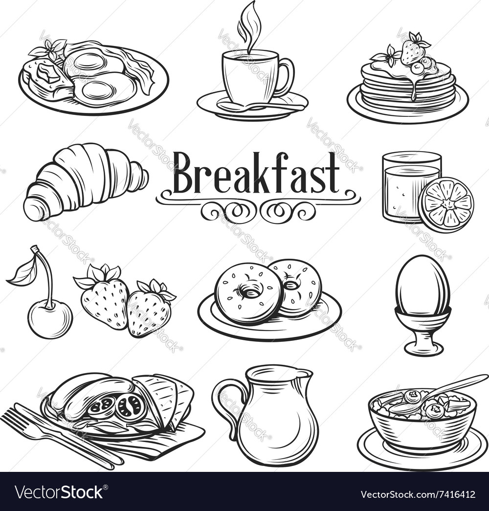Hand drawn decorative icons breakfast