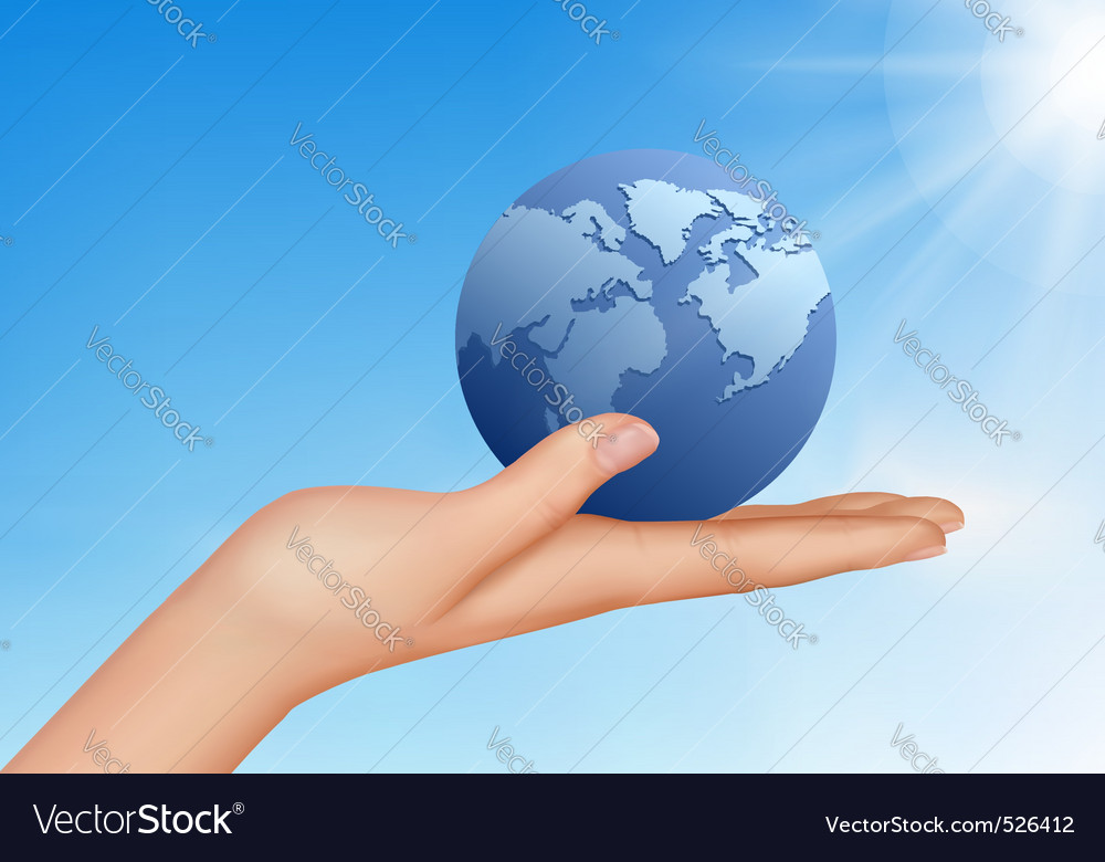 Hand with globe vector image