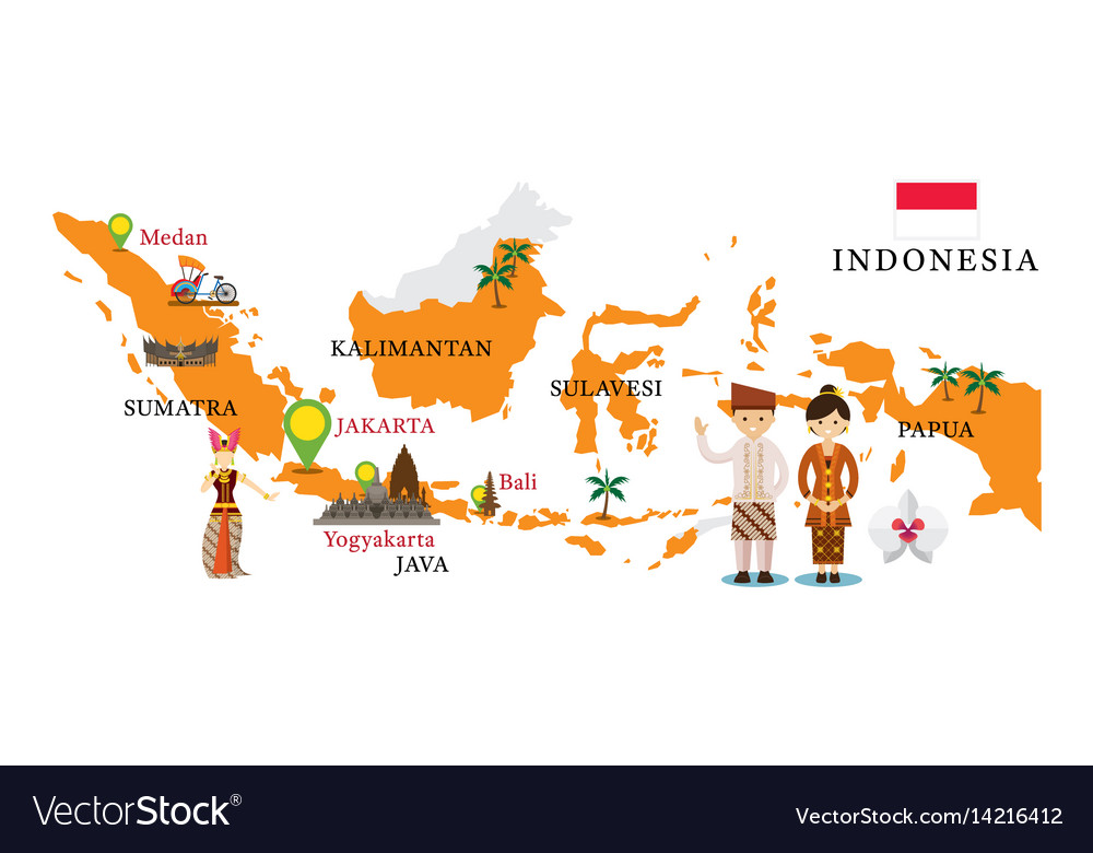 Indonesia map and landmarks Royalty Free Vector Image