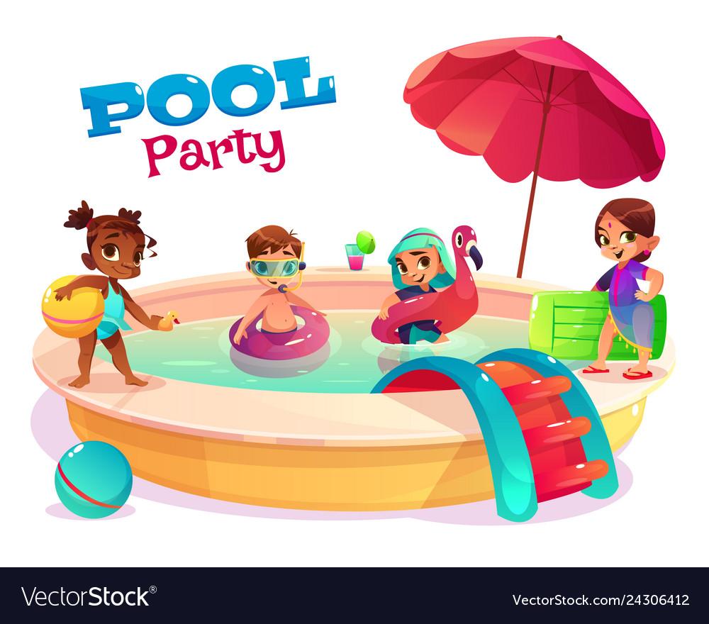 Multiethnic kids swimming in pool carton