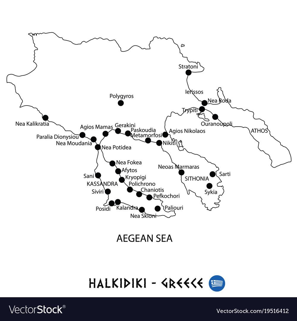 Peninsula of halkidiki in greece map on white
