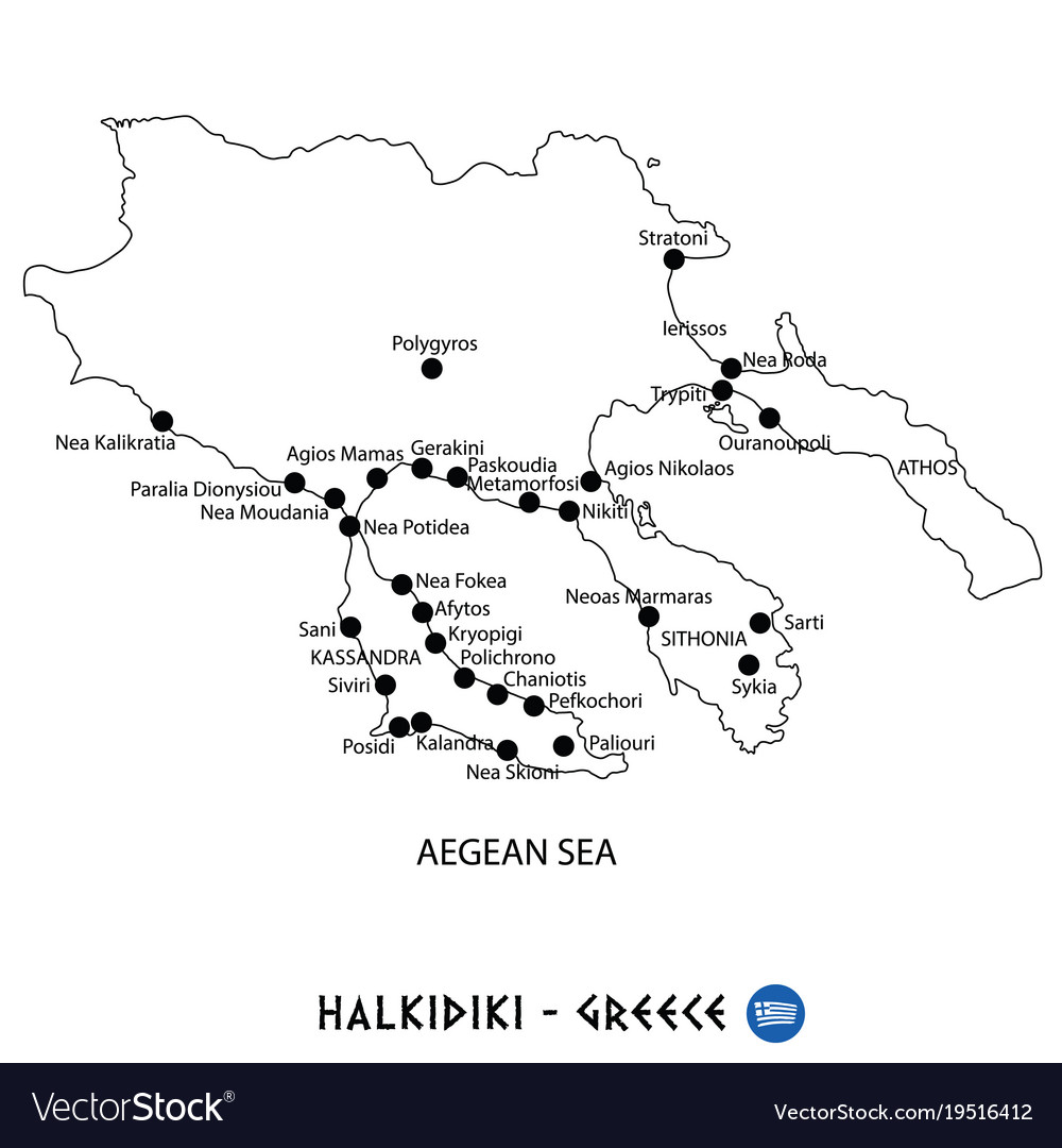 Peninsula Of Halkidiki In Greece Map On White Vector Image